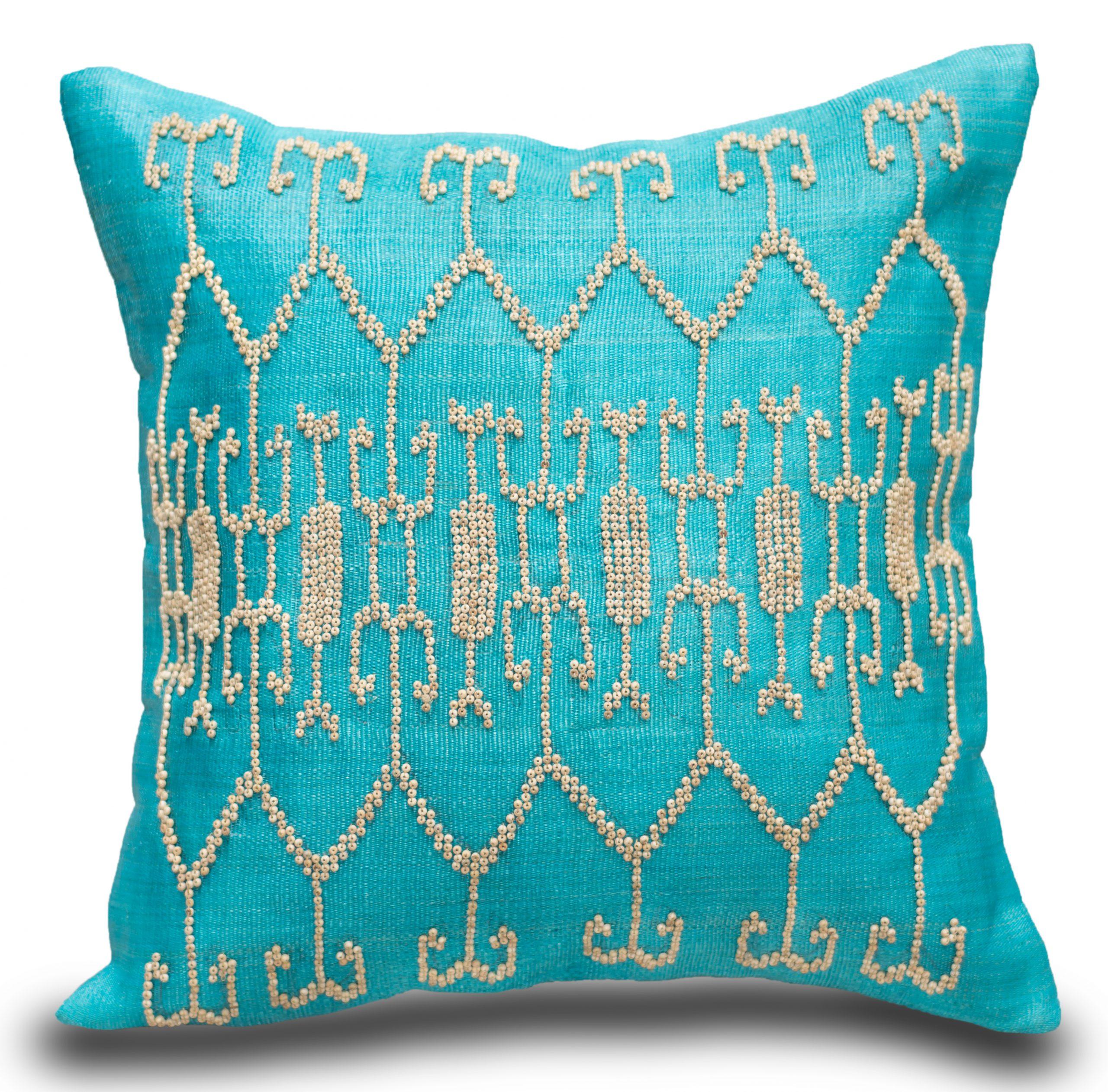 tnalak cushion beaded ikat center turquoise